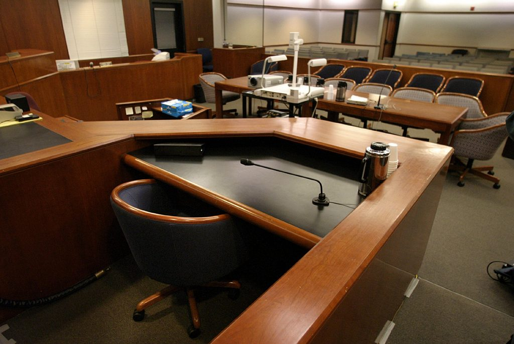 expert witness courtroom with chairs ready for charter flight
