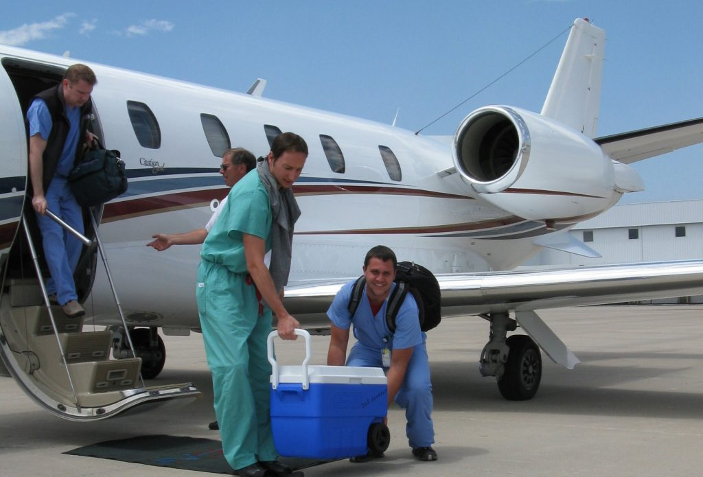 organ transplant services via jet